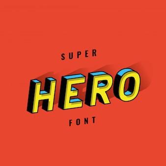 Superhelden-schriftdesign, typografie-retro- und comic-themenillustration