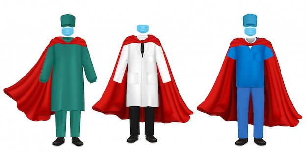 Superhelden-set des corona-virus-pandemie-doktors, flache illustration