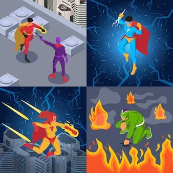 Superhelden superschurken comic-figuren blitz feuerkraft kampfszenen