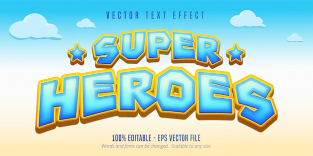 Superhelden-text, bearbeitbarer texteffekt im cartoon-stil Premium Vektoren