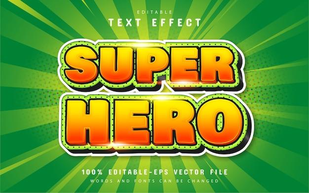 Superhelden-texteffekt mit orangefarbenem farbverlauf