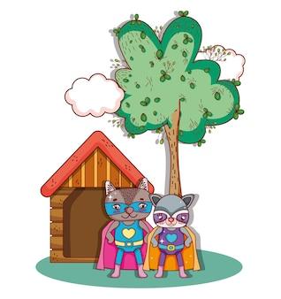 Superhelden-tiere karikaturen