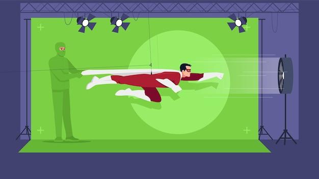 Superheldenfilm semi. grüner bildschirm für spezialeffekte. actionfilm-erstellung. moderne filmtechnologien. professionelles team