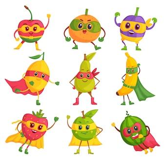 Superheldenfrucht. comicfiguren in masken und umhängen gesetzt. tapfere und lustige superheldenfrüchte. veganes oder vegetarisches gesundes essenspaßkonzept
