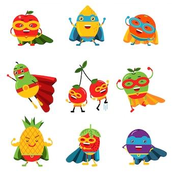 Superheldenfrüchte in verschiedenen kostümen setzen bunte illustrationen
