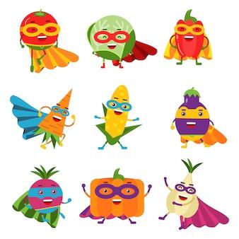 Superheldengemüse in verschiedenen kostümen bunt eingestellt