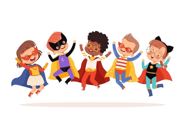 Superheldenkinder springen, lachen und haben spaß. auf einem weißen hintergrund isoliert.