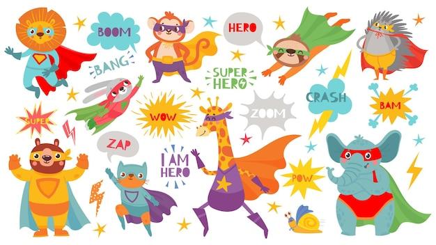 Superheldentiere. süße heldentiere mit umhängen und verspielten masken, tapfere lustige tier-comic-sprechblasen, cartoon-vektorfiguren. löwe und affe, hase und bär, katze und giraffe, elefant