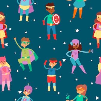 Superheldkinder im nahtlosen muster der kostüme.