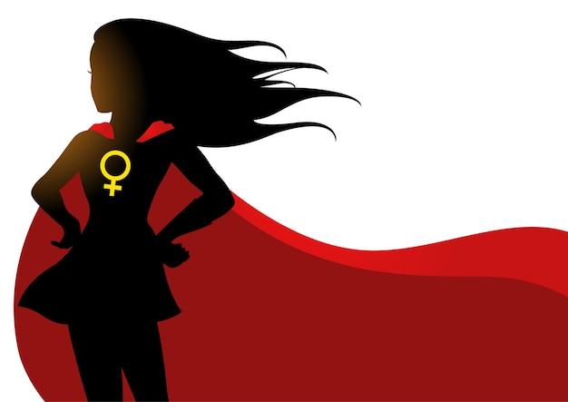 Superheroine im roten umhang mit weiblichem symbol