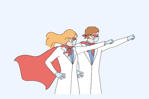 Supermacht der ärzte während des coronavirus-pandemie-konzepts. medizinische arbeiter des mannes und der frauärzte, die chirurgische gesichtsmaske im superheldenkostüm tragen und hände hochheben