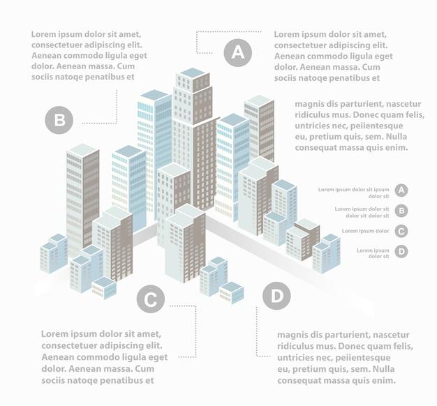 Supermärkte, wolkenkratzer und bürogebäude in städtischen gebieten von großstädten