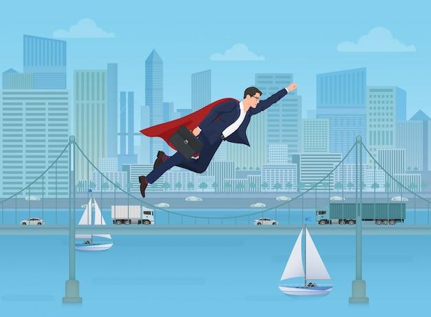 Supermanngeschäftsmann, der über moderne stadt fliegt