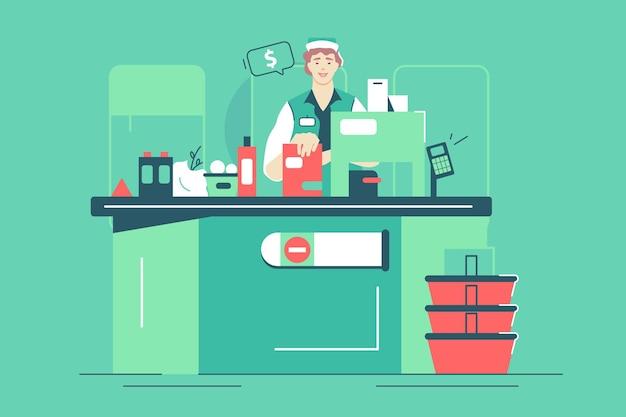 Supermarkt-arbeiterin an der kasse-vektor-illustration. bündel frische bio-lebensmittel und getränke im flachen stil. einkaufen, lebensmittelgeschäft, zahlungskonzept. auf grünem hintergrund isoliert