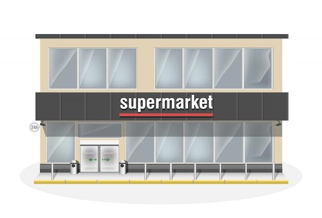 Supermarkt bestehend aus zwei etagen. premium große ladenvitrine und automatische eingangstür. mit weißen panoramafenstern lagern.
