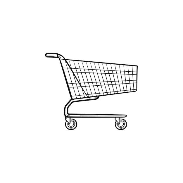 Supermarkt einkaufswagen hand gezeichnete umriss-doodle-symbol. verkauf, geschäft, e-commerce, markt, handelskonzept