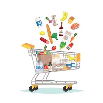 Supermarkt einkaufswagen mit verschiedenen lebensmitteln