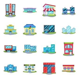 Supermarkt gebäude cartoon-elemente. stellen sie illustration des speicher- und stadtsupermarktes ein. reihe von elementen für den bau.