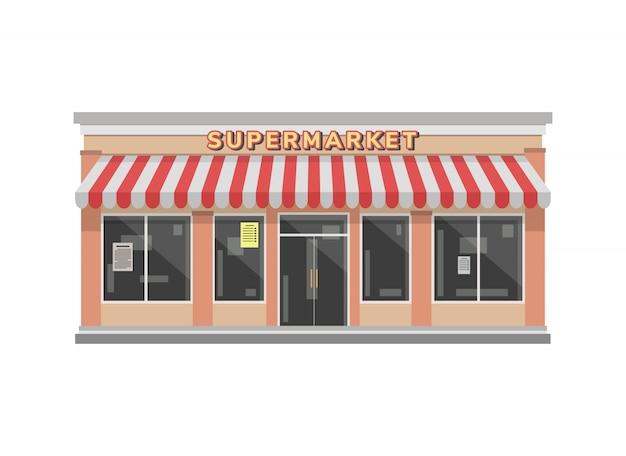 Supermarkt-geschäftsgebäude-illustration in der flachen art