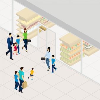 Supermarkt isometrische illustration