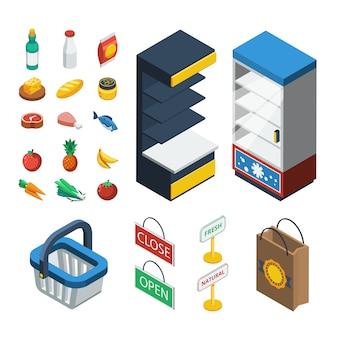 Supermarkt isometrische symbolsatz