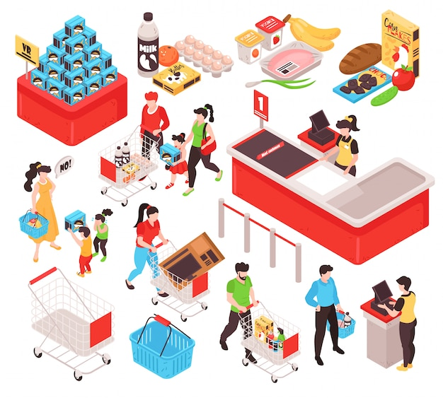 Supermarkt isometrisches set mit produkten bieten promotion abschnitt trolley cart korb kunden kassierer weißen hintergrund