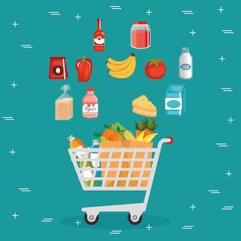 Supermarkt lebensmittel im einkaufswagen
