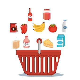 Supermarkt lebensmittel im korb einkaufen