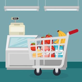 Supermarkt lebensmittel im warenkorb