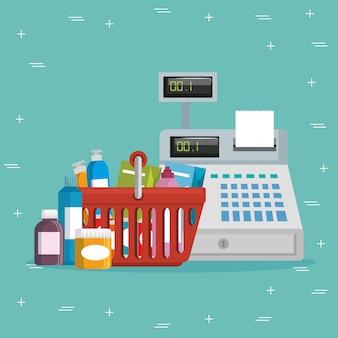 Supermarkt lebensmittel stellen icons