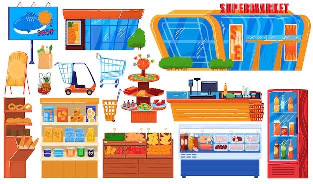 Supermarkt lebensmittelgeschäft illustration set, cartoon hypermarkt sammlung von storefront gebäude, ladenregal und gefrierschrank