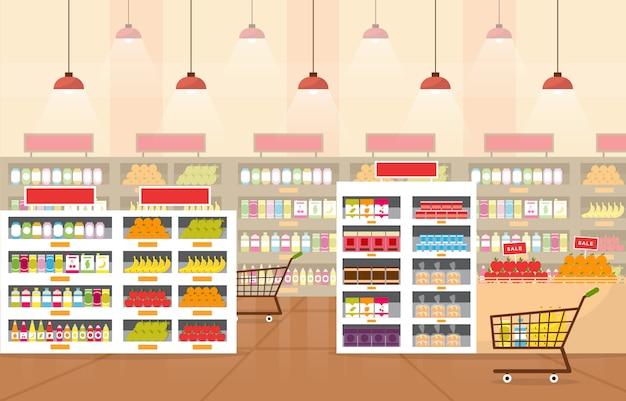 Supermarkt lebensmittelgeschäft ladengeschäft einzelhandelsgeschäft mall interieur flache illustration