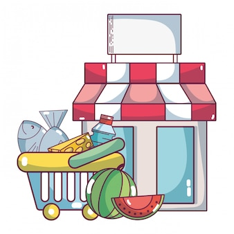 Supermarkt lebensmittelprodukte cartoon