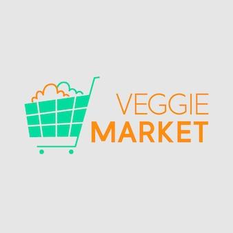 Supermarkt-logo mit warenkorb