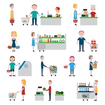 Supermarkt-Menschen festgelegt
