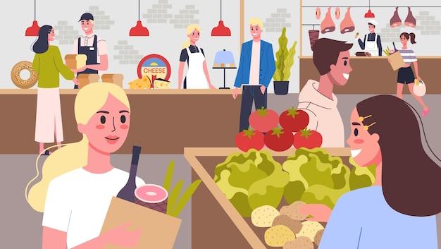 Supermarkt mit frischem bauerngemüse, milchprodukten, käse und fleisch. leute im supermarkt, die waren kaufen. illustration