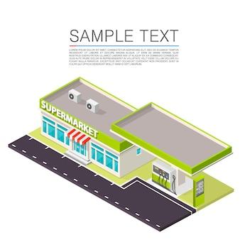 Supermarkt mit tankstelle am straßenrand. vektor-illustration