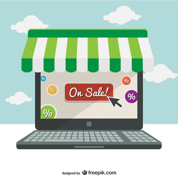 Supermarkt online-laptop-konzept illustration