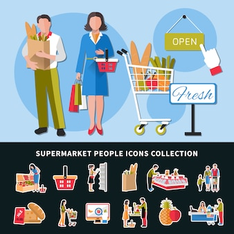 Supermarkt people icons collection