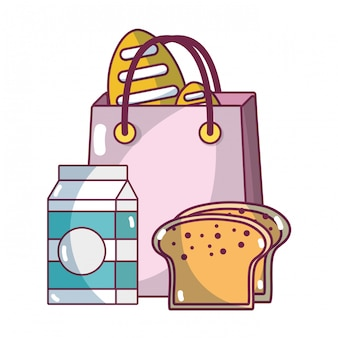 Supermarkt produkte cartoon