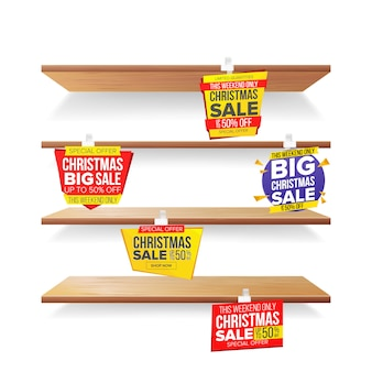 Supermarkt-regale, feiertags-weihnachtsverkaufs-werbungs-wobbler