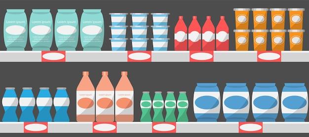 Supermarkt regale mit produkten