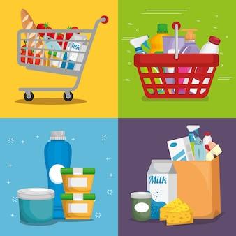 Supermarkt-set produkte mit sonderangebot