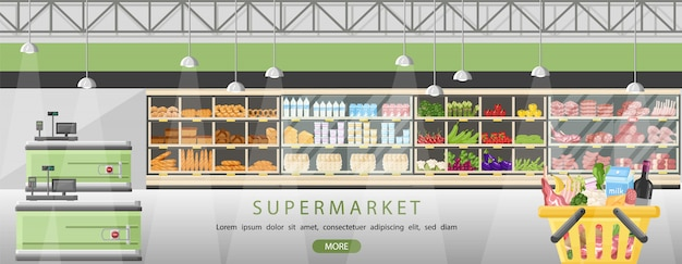 Supermarkt steht mit lebensmitteln
