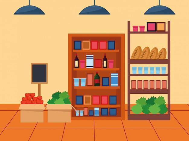 Supermarkt steht mit lebensmitteln,