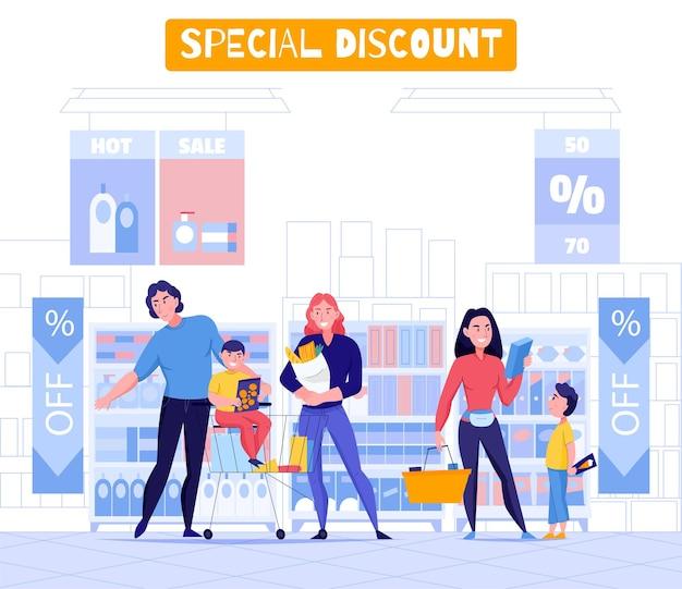 Supermarkt und kunden mit speziellen rabattsymbolen flach