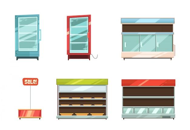 Supermarkt- und lebensmittelgeschäftgeschichten zeigen gestellgangkühlschrank an und retro- karikatur des verkaufsstandes