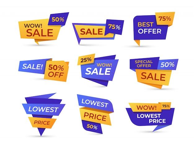 Supermarkt verkauf etiketten flache icon set