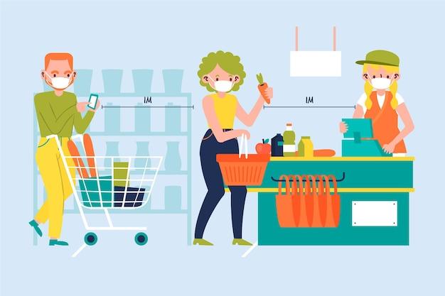 Supermarkt warteschlange mit sicherheitsabstand