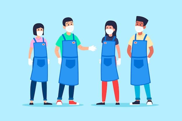 Supermarktarbeiter packen